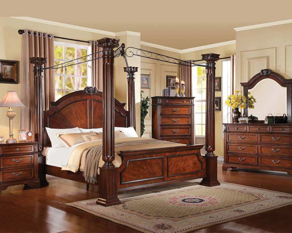 Acme Bedroom Set In Walnut Roman Empire Iii Ac23340set