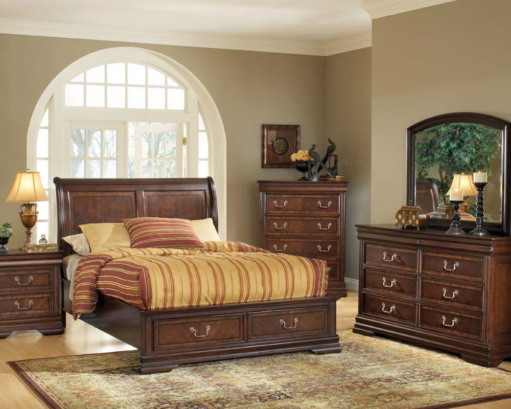 Acme Bedroom Set W/ Storage In Brown Cherry Hennessy