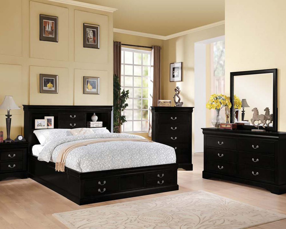 Black White Bedroom Furniture: Acme Black Bedroom Set Louis Philippe III AC24390SET