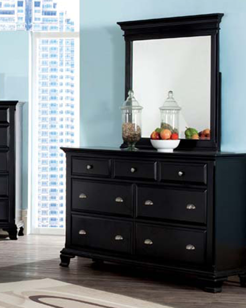 Contemporary Bedroom Set London Black By Acme Furniture: Acme Black Dresser W/ Mirror Canterbury AC10435DM