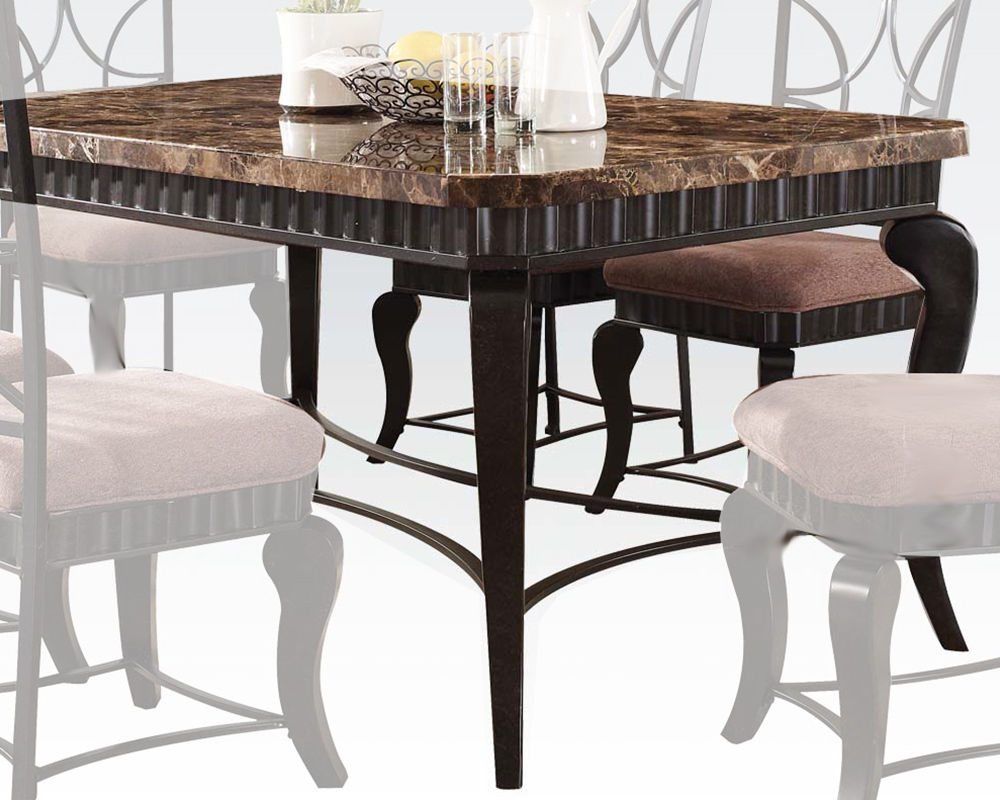 Acme brown marble top dining table galiana ac18289 for Marble dining table