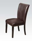 Acme Dark Brown Crocodile Side Chair Fraser AC70132 (Set of 2)