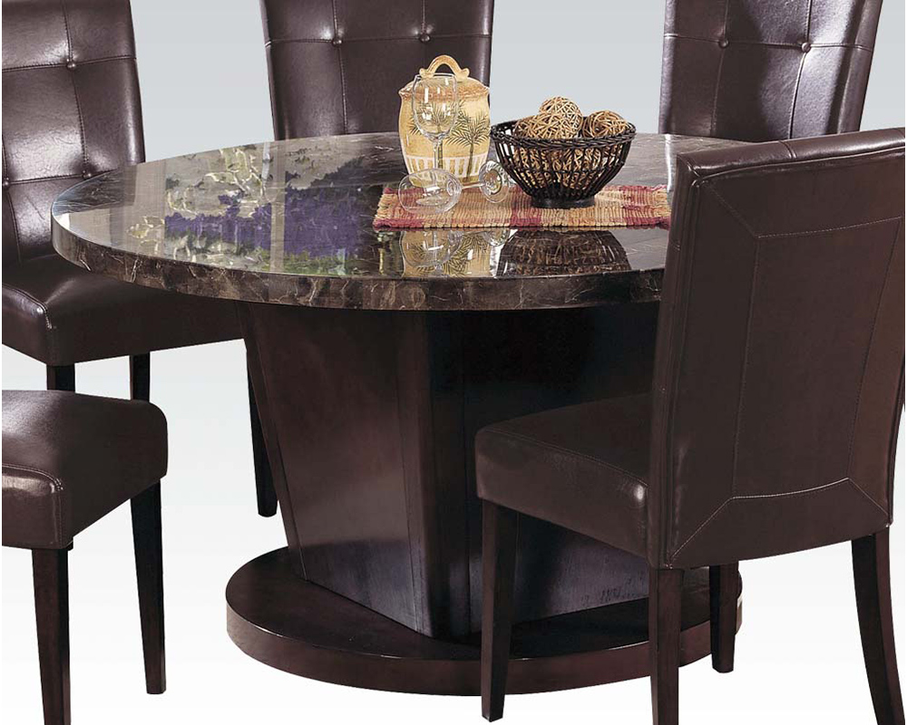 Acme dining set w black marble top danville ac07003set Black marble dining table set