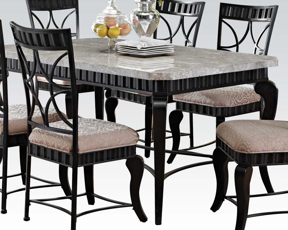 Acme Dining Set W White Marble Top Table Lorencia Ac70294set