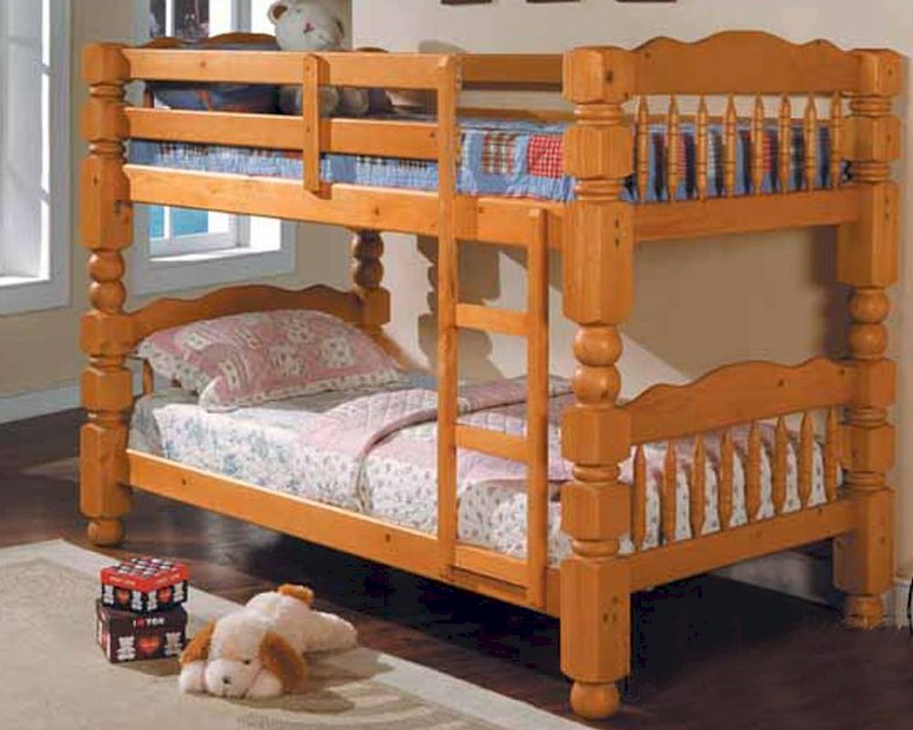 Furniture 4 5 Post Twin over Twin Bunk Bed in Honey Oak AC