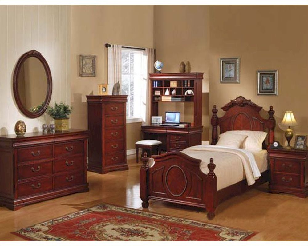 acme furniture bedroom set in cherry ac11875tset 13992 | acme furniture bedroom set in cherry ac11875tset 24