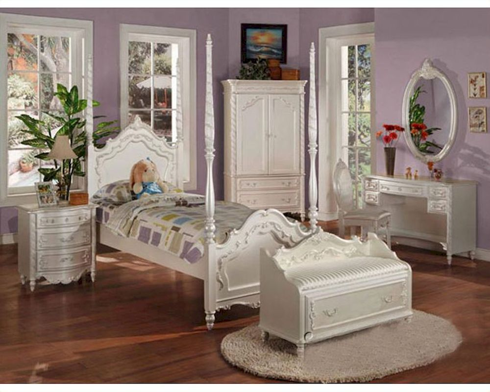 Acme furniture bedroom set in pearl white ac01000tset for White bedroom furniture