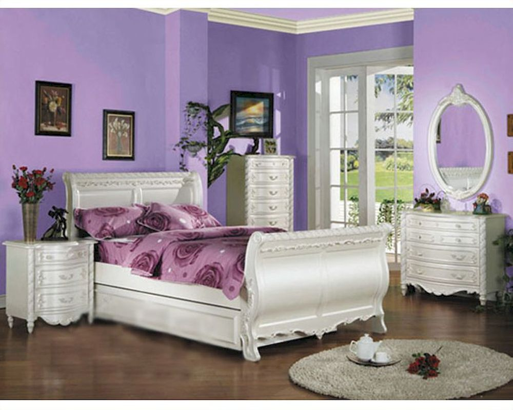 Acme furniture bedroom set in pearl white ac01010tset for White full bedroom furniture sets