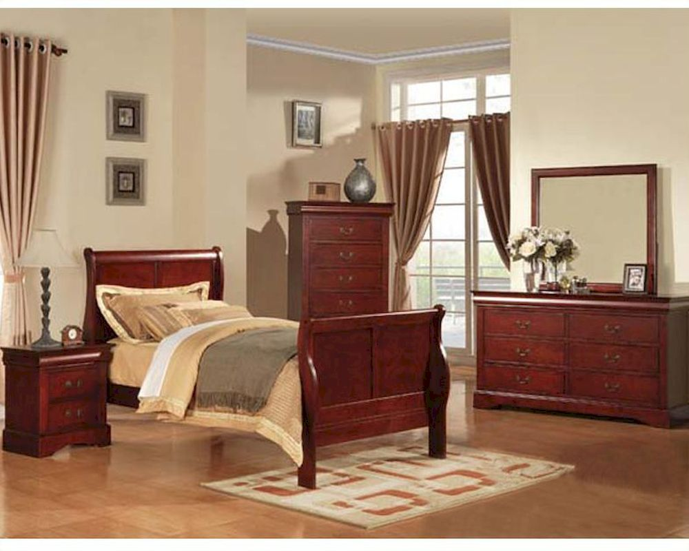 Contemporary Bedroom Set London Black By Acme Furniture: Acme Furniture Bedroom Set Louis Philippe In Cherry