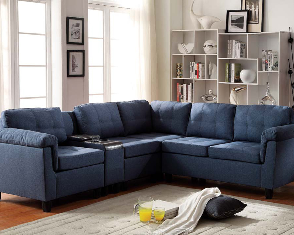 acme furniture blue sectional sofa cleavon