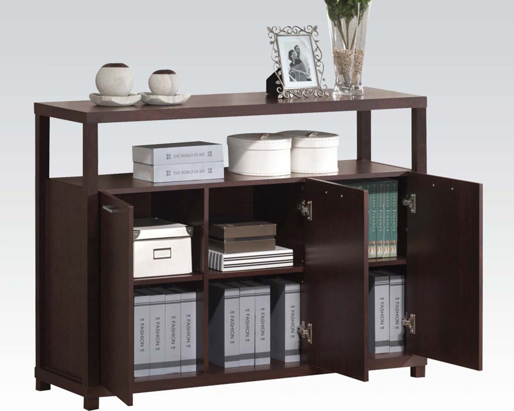 Acme furniture cabinet w 3 doors ac08278 for Acme kitchen cabinets