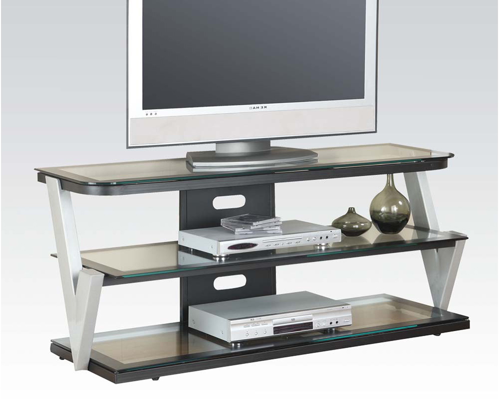 acme furniture clear tempered glass tv stand ac91034. Black Bedroom Furniture Sets. Home Design Ideas