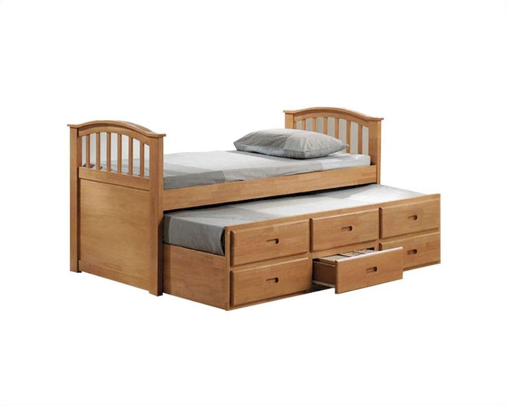 Acme furniture full bed with trundle and drawers in maple ac08933 - Solid wood trundle bed with drawers ...