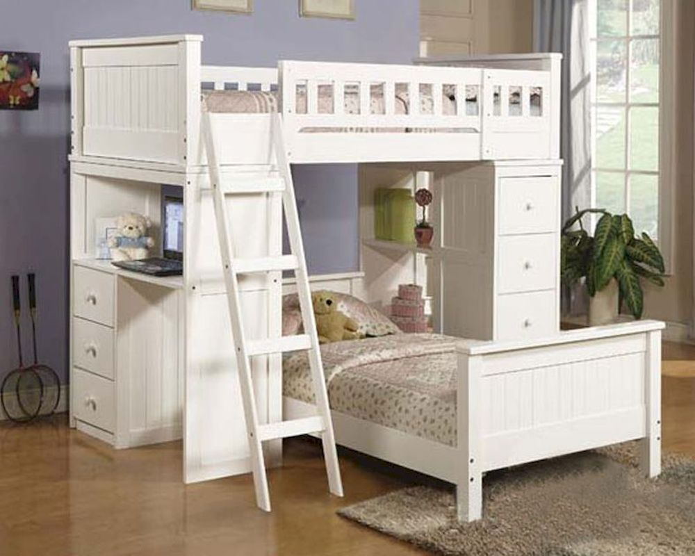 Acme Furniture Loft And Twin Bed Set In White Willoughby Ac10970 8