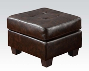 Acme Furniture Ottoman in Brown Bonded Leather Platinum AC15073B