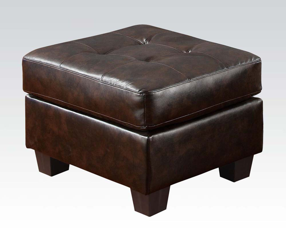 Acme Furniture Ottoman In Brown Bonded Leather Platinum