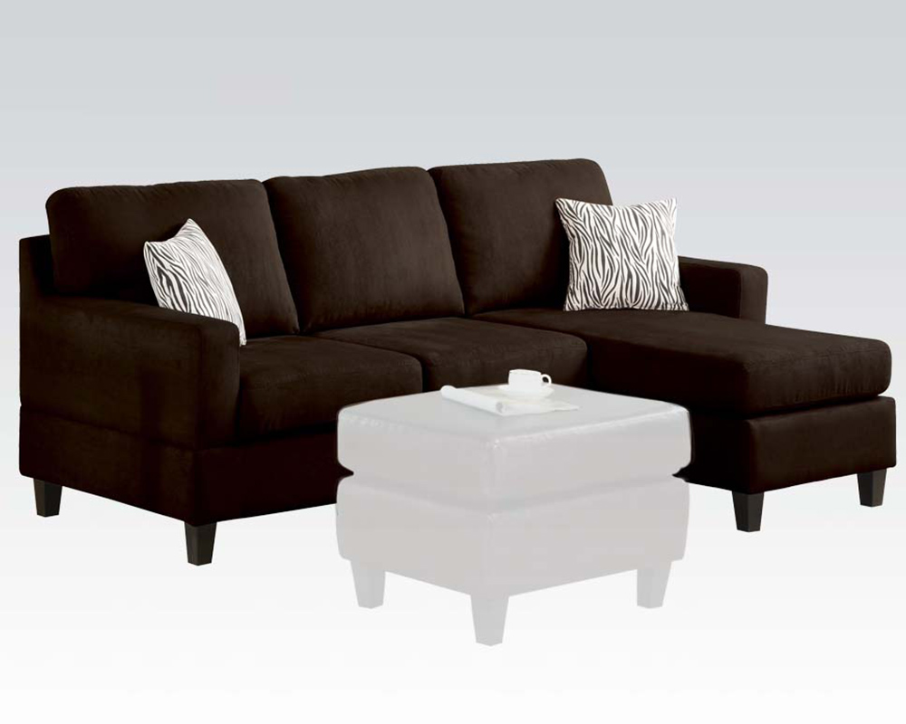 Strange Acme Furniture Reversible Chaise Sectional Vogue Chocolate Bralicious Painted Fabric Chair Ideas Braliciousco