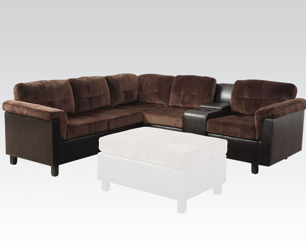 Acme Furniture Reversible Sectional Sofa In Chocolate