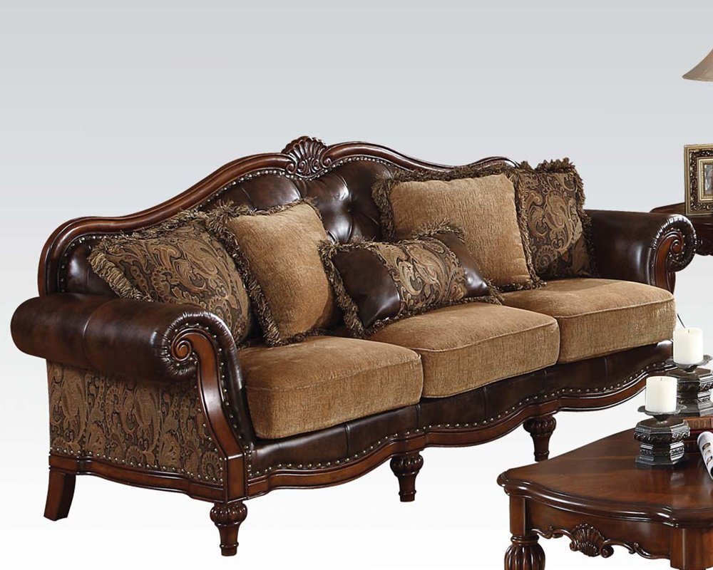 Traditional Sofa Pillows : Acme Furniture Traditional Style Sofa w/ 5 Pillows Dreena AC05495