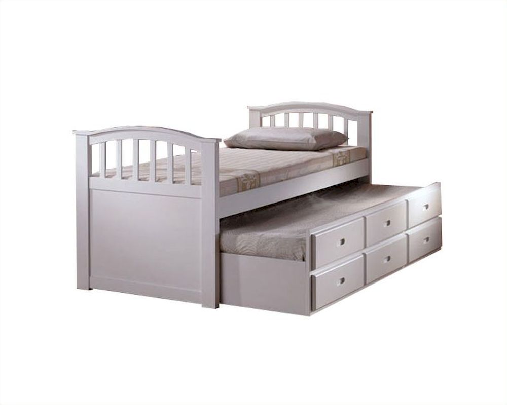 Acme furniture twin bed with trundle and drawers in white ac09145 White twin trundle bedroom set