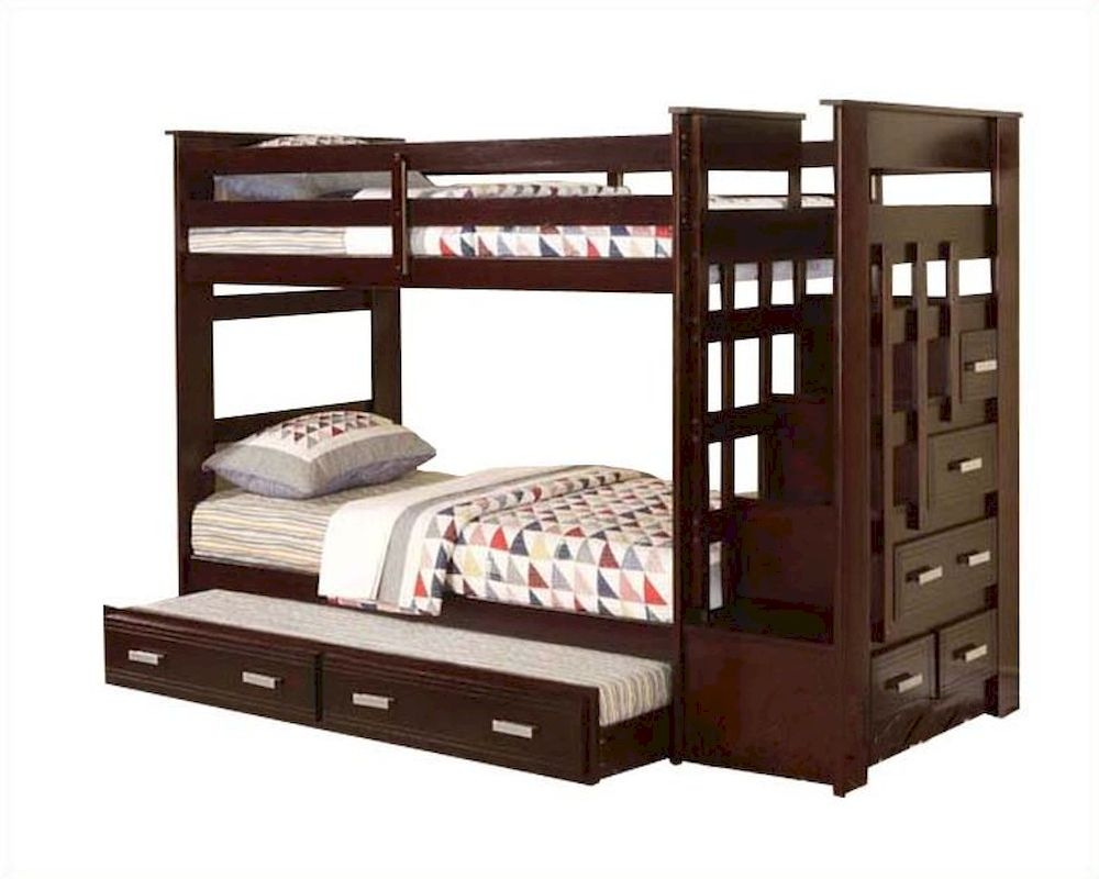 Acme furniture twin over twin bunk bed in espresso ac10170 for Furniture 123 bunk beds