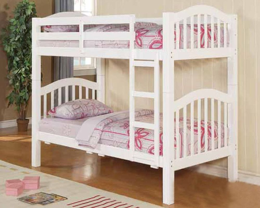 Twin bunk beds white - Acme Furniture Twin Over Twin Bunk Bed In White Ac02354