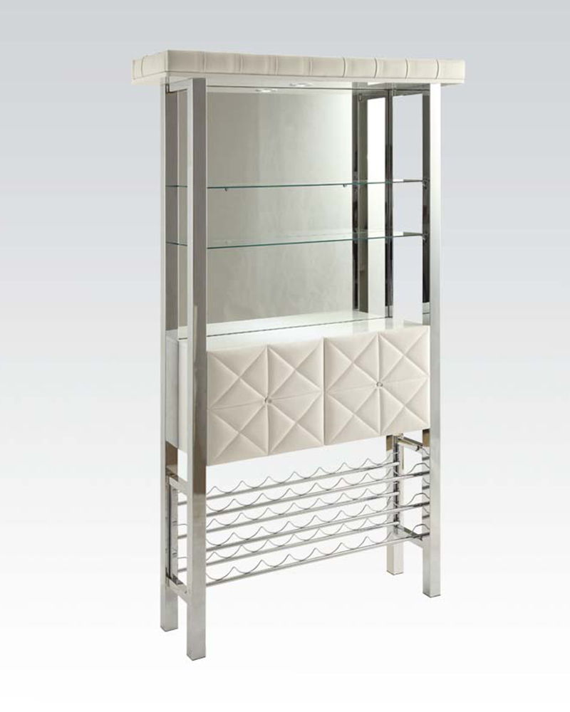 Acme furniture white wine cabinet ac71588 for Acme kitchen cabinets