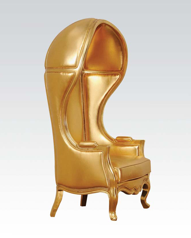 acme gold finish hooded accent chair ac59117. Black Bedroom Furniture Sets. Home Design Ideas