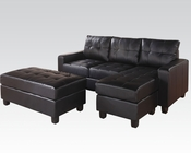 Acme Reversible Sectional w/ Ottoman Lyssa Black AC51215