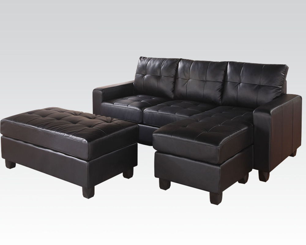 Acme Reversible Sectional W Ottoman Lyssa Black Ac51215