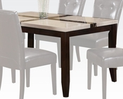 Acme White Faux Marble Top Dining Table Justin AC16550