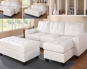 Acme White Reversible Sectional w/ Ottoman Lyssa AC51210