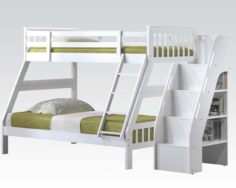Acme white twin full bunk bed ac37155 for White twin bunk beds