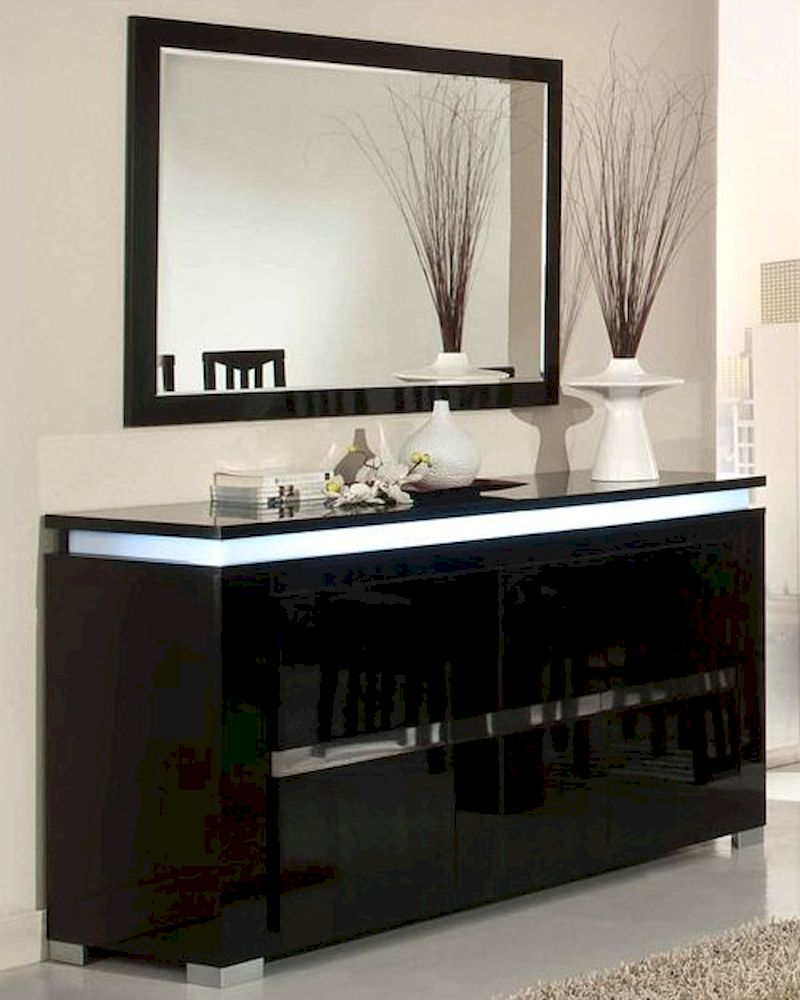 Adriana Modern Black Buffet With Mirror 44dadrbm