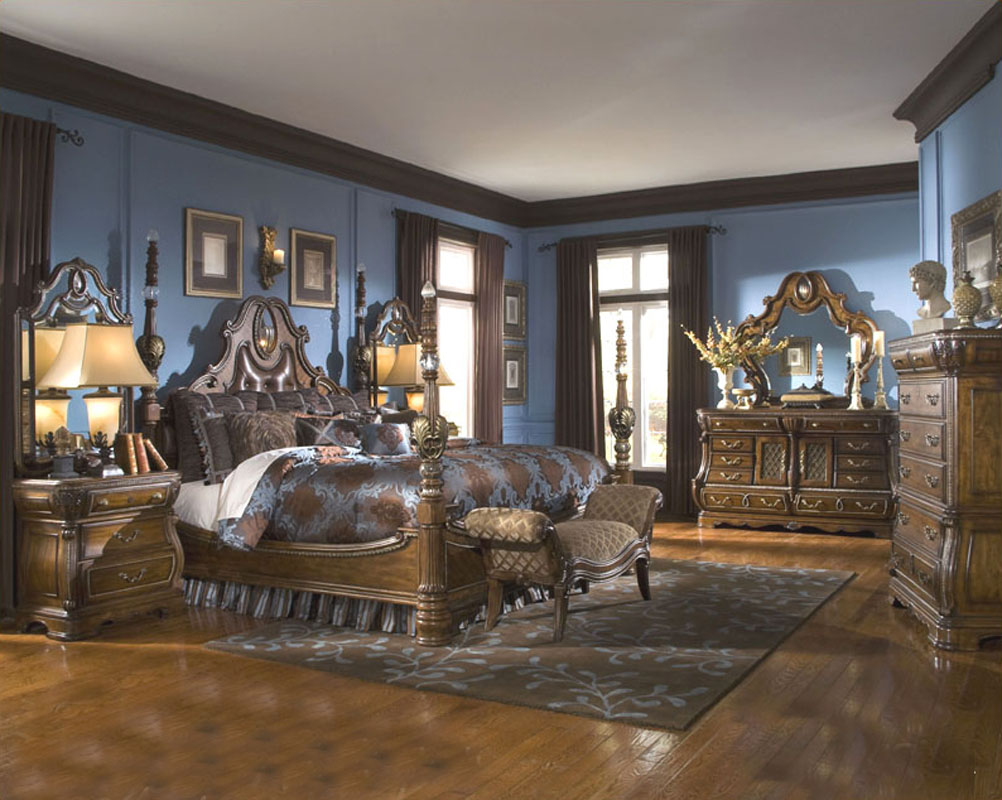 aico bedroom set sovereign in soft mink ai57051