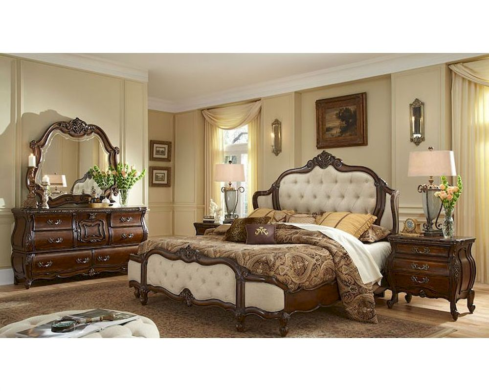 Wonderful AICO Bedroom Set Upholstered Headboard Lavelle Melange AI 540Set F