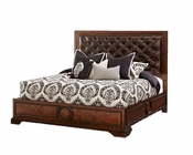 AICO Panel Bed w/ Leather Tufted Headboard Bella Cera AI-38000PN2L-45