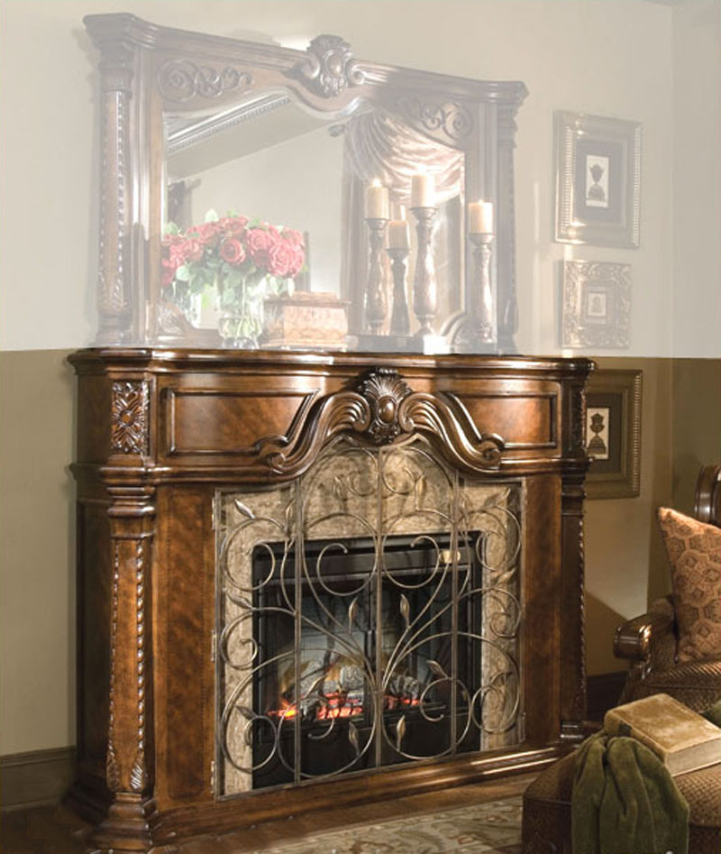 aico furniture windsor court fireplace in fruitwood ai7022054