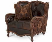 AICO Lavelle Melange Leather/Fabric Chair & a Half AI-54938-CHOCO-34