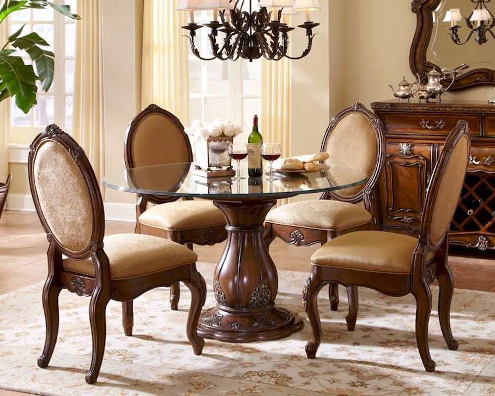 Aico lavelle melange round glass top dining set ai 54001set for Glass top dining table next