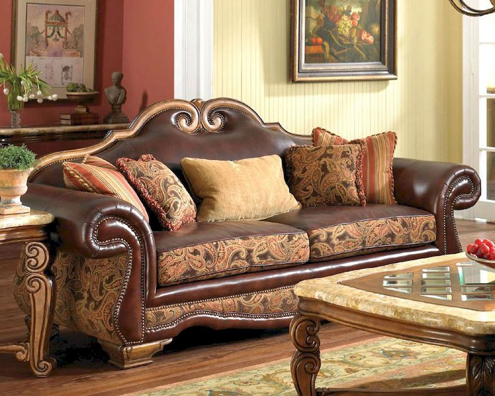 Aico Leather Fabric High Back Sofa Tuscano Ai 34915 Brick 26