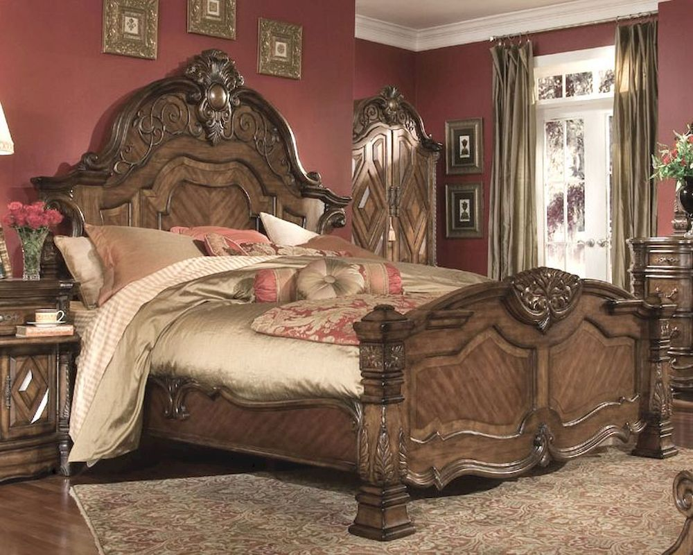 Aico Mansion Bed Windsor Court In Vintage Fruitwood Ai 700 1 54