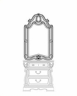 AICO Night Stand Mirror Sovereign in Soft Mink AI-57041-51