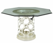 AICO After Eight 60in Glass Top Dining Table in Pearl AI-19001-101-08