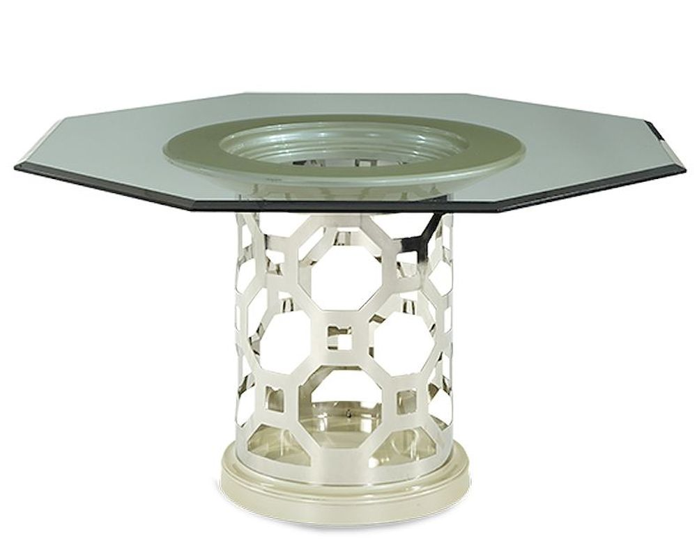 Aico after eight 60in glass top dining table in pearl ai for Glass top dining table next