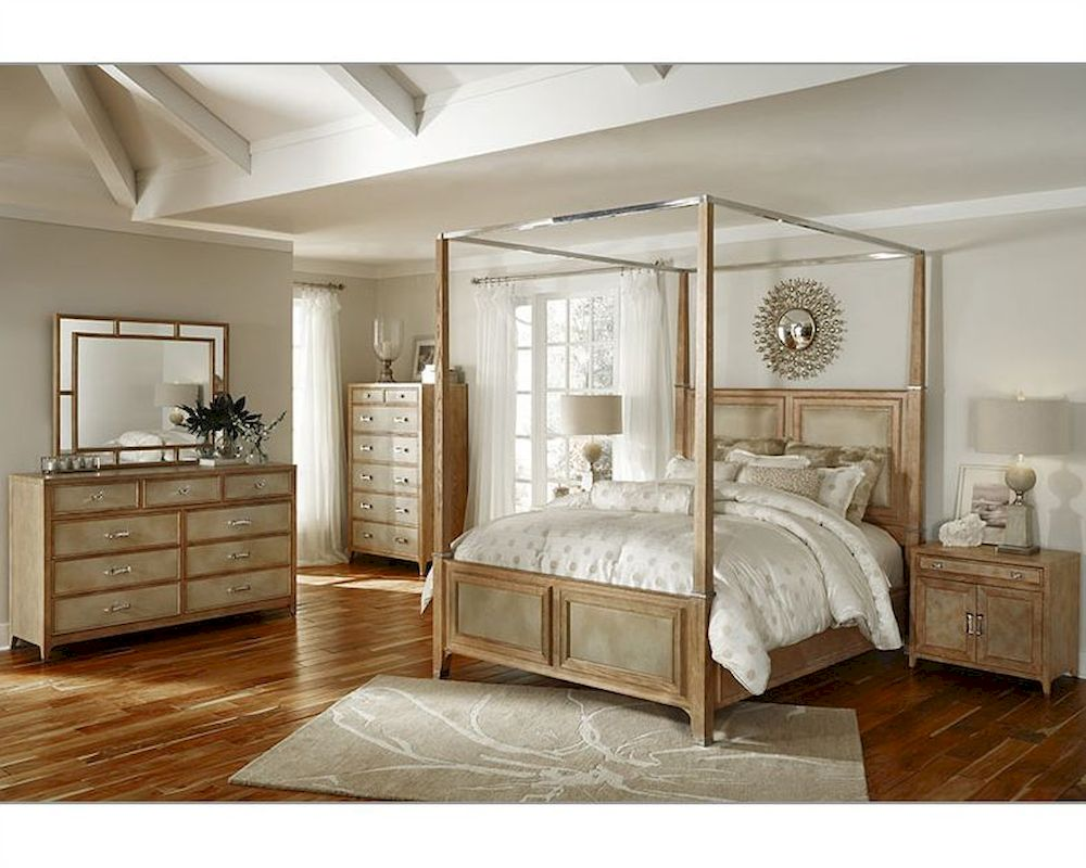 AICO Canopy Bedroom Set Biscayne West In Sand Color AI 80100 102SET
