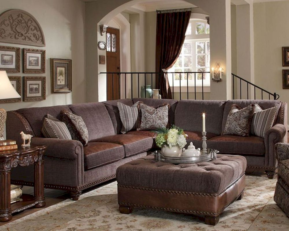 Aico sectional living room set monte carlo ii ai 53912 brown 46s for Pictures of living rooms with brown furniture