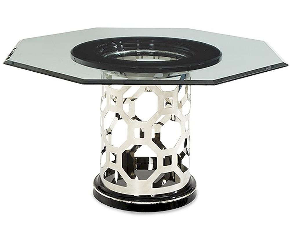 Aico after eight 60in glass top dining table ai 19001 101 16 for Glass top dining table next