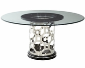 AICO After Eight 60in Round Glass Top Dining Table AI-19001-GL60TE-16