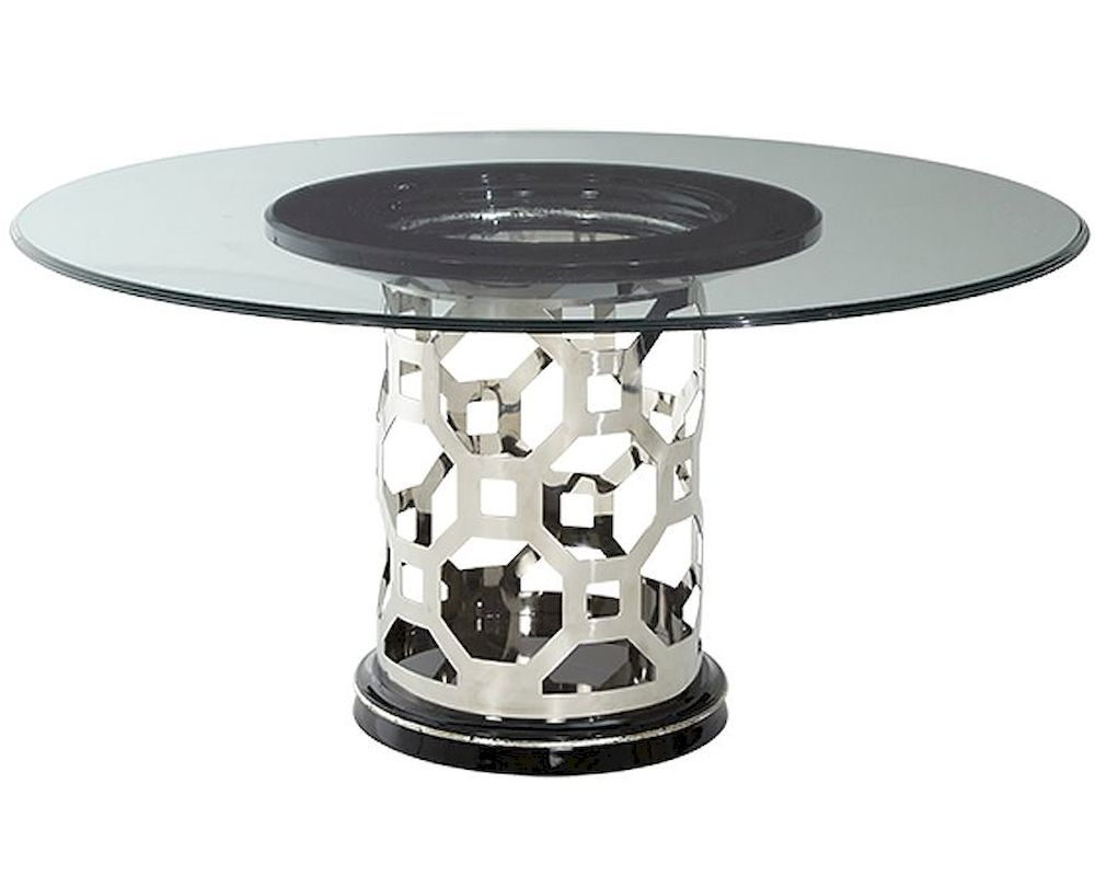 Aico after eight 60in round glass top dining table ai for Glass top dining table next